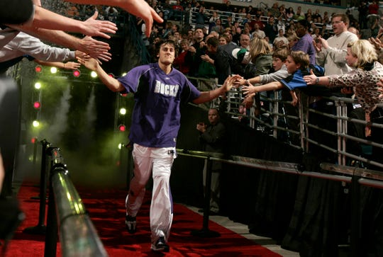 Milwaukee Bucks first round draft pick Andrew Bogut is introduced during the Milwaukee Bucks home opener against the Miami Heat, Saturday, November 5, 2005 at the Bradley Center in Milwaukee.