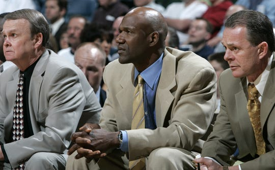 Milwaukee Bucks' head coach Terry Porter watches as his team battles against the Toronto Raptors' during the Bucks last home game of the season at the Bradley Center in April 2005.