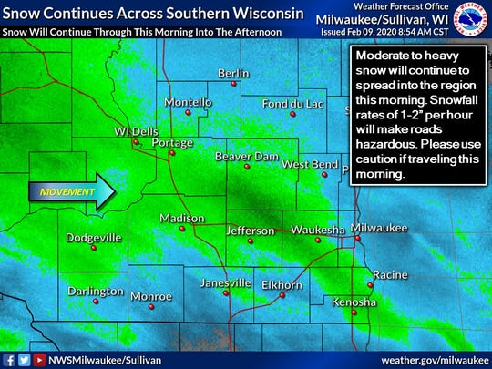The Milwaukee area was expected to see 3 to 5 inches of snow on Sunday.
