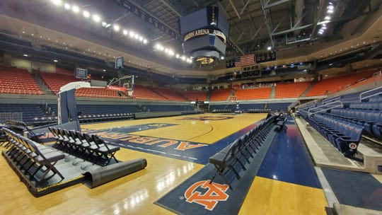 Auburn Arena set up for a Saturday basketball game less than two hours after the end of of a Friday night gymnastics meet.