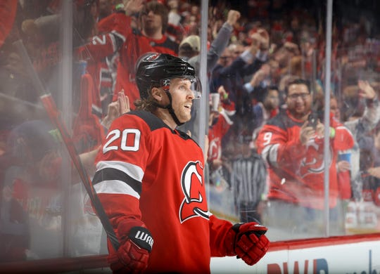 Blake Coleman #20 of the New Jersey Devils celebrates his goal in the second period against the Los Angeles Kings at Prudential Center on February 8, 2020 in Newark, New Jersey.