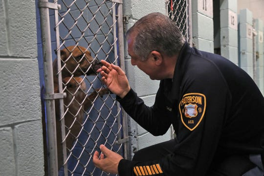 Paterson Animal Control Officer, John DeCando with one his his occupants at the Paterson Animal Shelter.