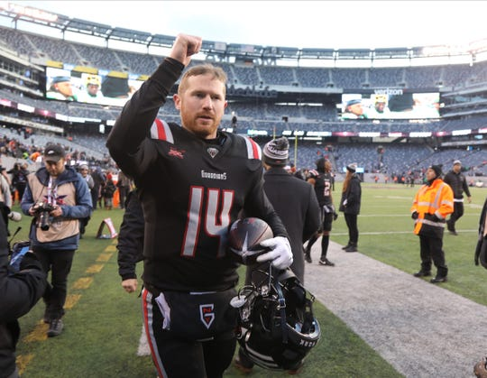 Matt McGloin of the NY Guardians at the end of the XFL opener won by New York 23-3 over Tampa Bay at Metlife Stadium in East Rutherford, NJ on February 9, 2020.