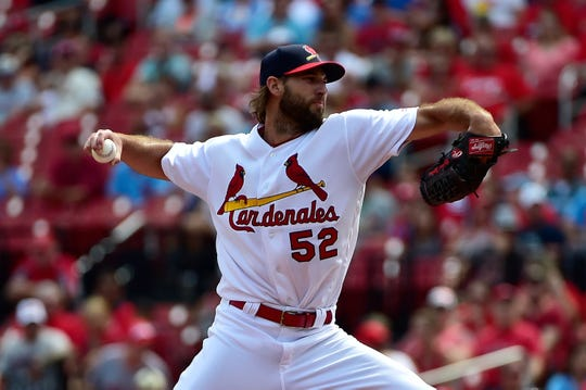 Sep 15, 2019; St. Louis, MO, USA; St. Louis Cardinals starting pitcher Michael Wacha (52) pitches during the first inning against the Milwaukee Brewers at Busch Stadium. Mandatory Credit: Jeff Curry-USA TODAY Sports