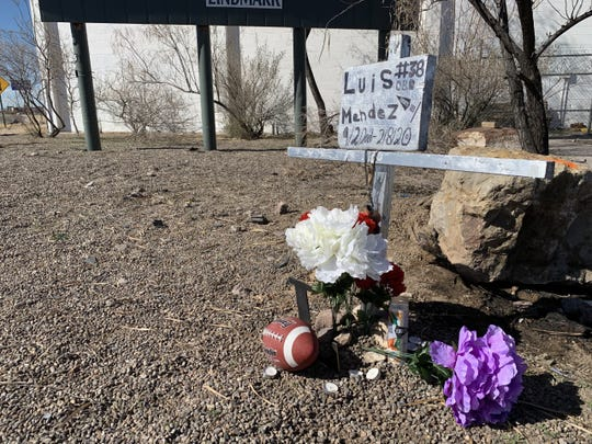 A memorial to Luis Mendez has been placed just off Bataan Memorial West, about a block east of the Sonoma Ranch Boulevard intersection. Luis, 18, was killed in car crash near the memorial site on Saturday, Feb. 8, 2020.