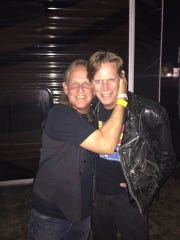 Robert Shipp and Richard Flower backstage when the Gin Blossoms played the Chandler Ostrich Festival.