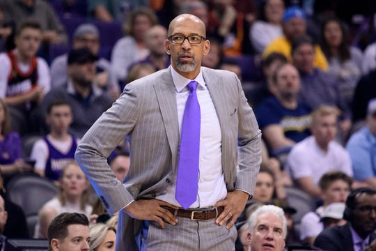 Feb 8, 2020; Phoenix, Arizona, USA;  Phoenix Suns head coach Monty Williams coaches during game against the Denver Nuggets at Talking Stick Resort Arena. Mandatory Credit: Jennifer Stewart-USA TODAY Sports