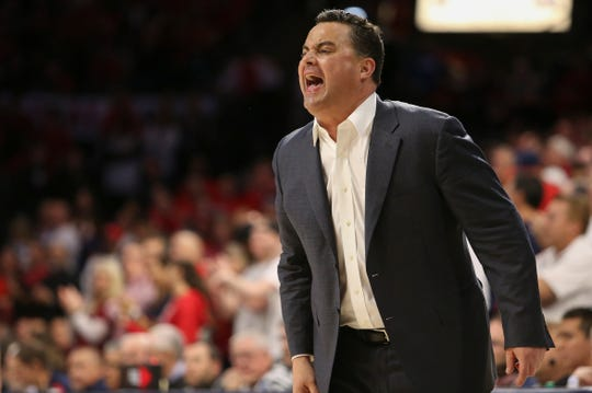 Feb 8, 2020; Tucson, Arizona, USA; Arizona Wildcats head coach Sean Miller yells to his team in the first half against the UCLA Bruins at McKale Center. Mandatory Credit: Jacob Snow-USA TODAY Sports