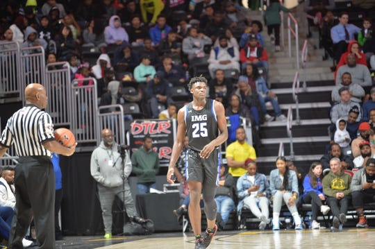 IMG Academy sophomore and New Freedom, PA native Jarace Walker (25) played in front of family and friends tonight at UMBC on Saturday February 8, 2020. IMG lost to Baltimore Poly Tech 62-60.