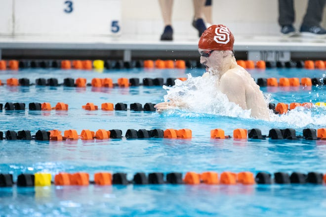 Susquehannock's Logan McFadden nearly had a pool record Saturday, but came away with the District 3 500 free record.
