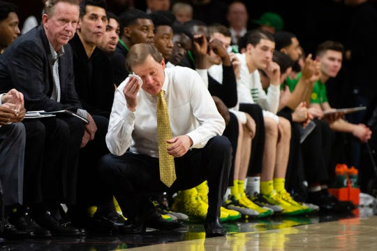 Feb 8, 2020; Corvallis, Oregon, USA; Oregon Ducks head coach Dana Altman wipes his face during the second half against the Oregon State Beavers at Gill Coliseum. The Beavers won 63-53. Mandatory Credit: Troy Wayrynen-USA TODAY Sports