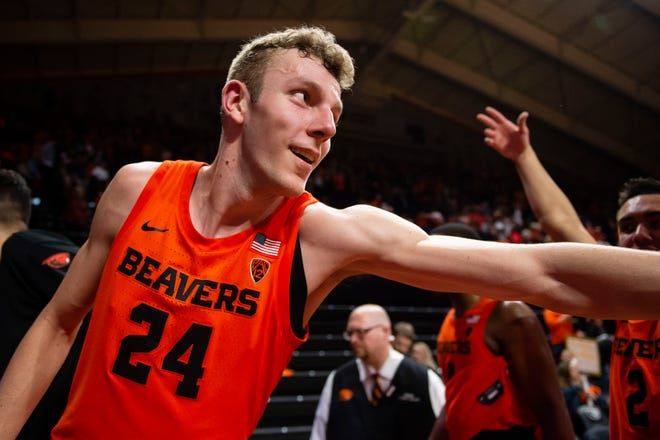 Feb 8, 2020; Corvallis, Oregon, USA; Oregon State Beavers forward Kylor Kelley (24), from Gervais, celebrates after a game against the Oregon Ducks at Gill Coliseum. The Beavers won 63-53. Mandatory Credit: Troy Wayrynen-USA TODAY Sports