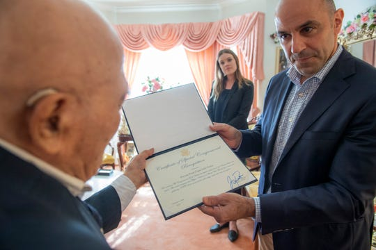 Congressman Jimmy Panetta awards long time Salinas resident Julio Sorio, 94, the Congressional Gold Medal. The medal is one of the highest United States civilian honors.