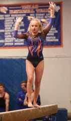 San Angelo Central High School's Hailey Smith competes on balance beam earlier in the 2019-2020 season.