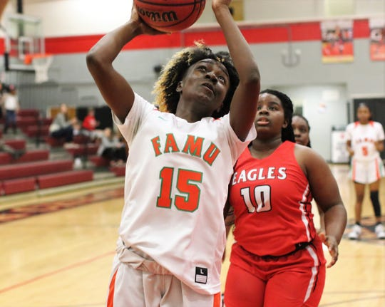 FAMU DRS sophomore Suraya Wash goes up for a layup as the Rattlers' girls basketball team beat NFC 59-22 in the District 1-2A final on Feb. 8, 2020.