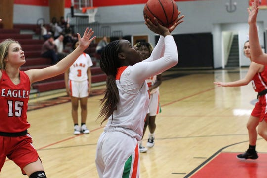 FAMU DRS guard Jaila Young goes up for a layup as the Rattlers' girls basketball team beat NFC 59-22 in the District 1-2A final on Feb. 8, 2020.