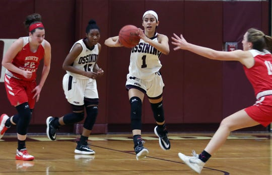 Ossining's Michelle Mercado (1) passes to a teammate against North Rockland during the final game of the Pauline Ricci Memorial Classic at Ossining High School Feb. 8, 2020. Ossining won the game 80-54.