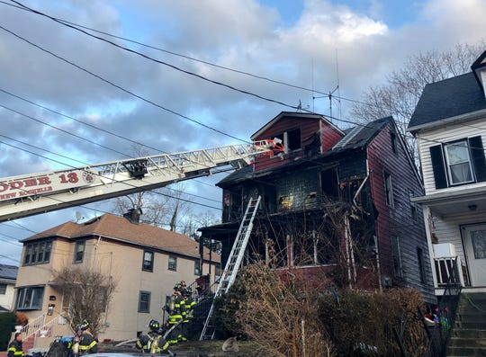 A fire tore through the front of a house in New Rochelle on Sunday Feb. 9, 2020.