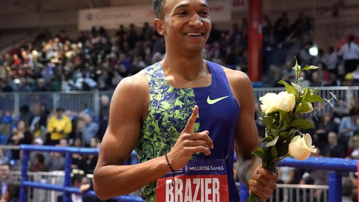 Donavan Brazier (USA) poses after winning the 800 in an American record 1:44.22  during the 113th Millrose Games at The Armory on Feb. 8. (Kirby Lee-USA TODAY Sports)