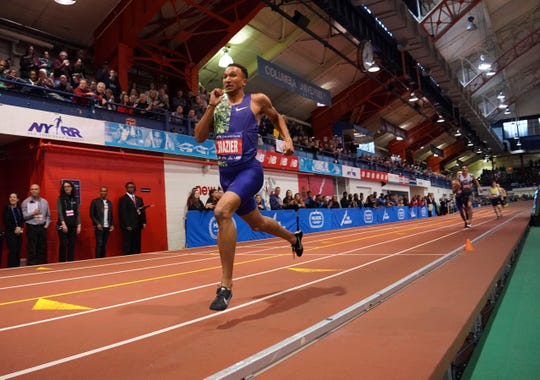 Donavan Brazier (USA) sets an American record in the 800 during the 113th Millrose Games at The Armory. (Kirby Lee-USA TODAY Sports)