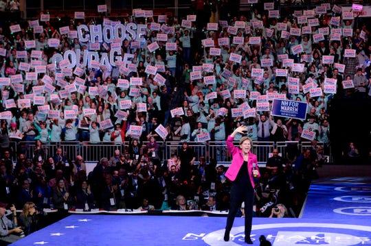 Democratic presidential hopeful Massachusetts Senator Elizabeth Warren addresses the Democratic Party's 61st Annual McIntyre-Shaheen 100 Club dinner at SNHU arena in Manchester, New Hampshire, on Feb. 8, 2020.