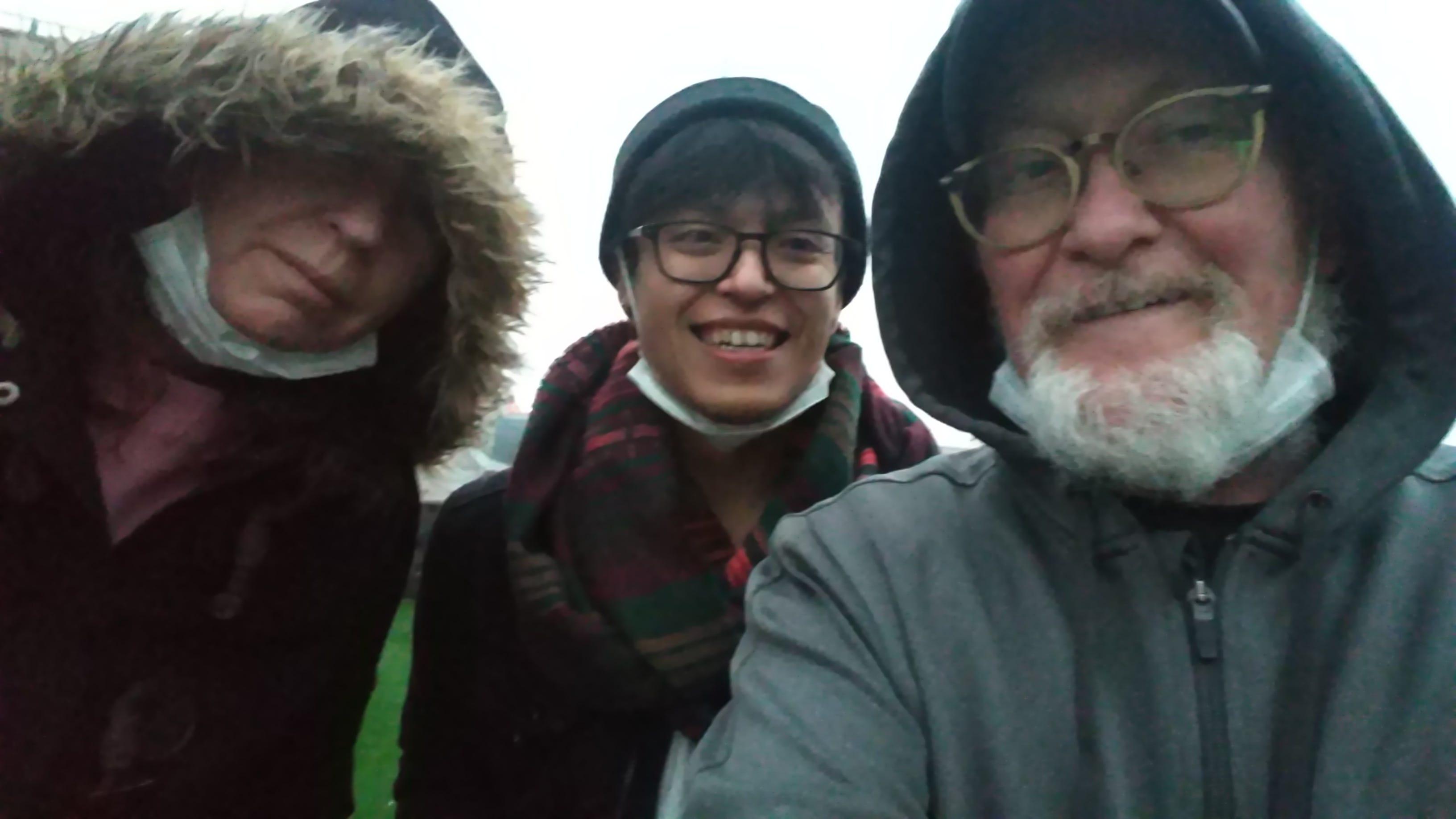 Rooftop shot with Liz Jones, Jacob Dominguez and John McGory, right, Feb 3, 2020.