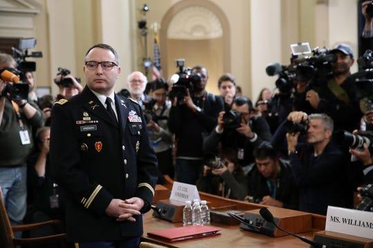 Army Lt. Col. Alexander Vindman testifies before the House Intelligence Committee on Nov. 19. 2019.