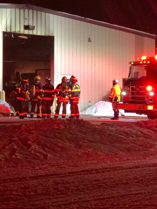 Firefighters respond to a fire at Valley Plastics Sunday night.