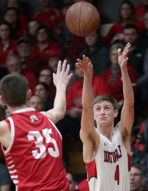 Hortonville's Logan Grossman shoots against Kimberly during their Fox Valley Association boys basketball game Feb. 7 in Hortonville.
