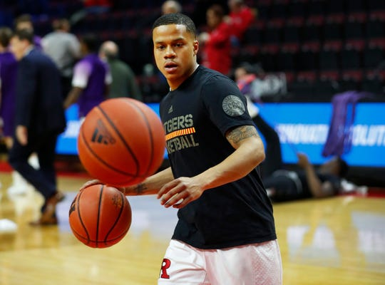 Rutgers Scarlet Knights guard Jacob Young (42) during warm ups before game against the Northwestern Wildcats