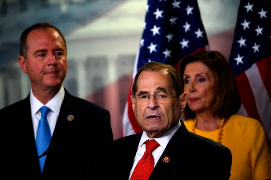 (FromR) US House Speaker Nancy Pelosi, House Intelligence Committee Chairman Adam Schiff and Chairman of the House Judiciary Committee US Representative Jerry Nadler deliver a press conference following the former Special Counsel's testimony before the House Select Committee on Intelligence in Washington, DC, on July 24, 2019. (Photo by ANDREW CABALLERO-REYNOLDS / AFP)        (Photo credit should read ANDREW CABALLERO-REYNOLDS/AFP via Getty Images)