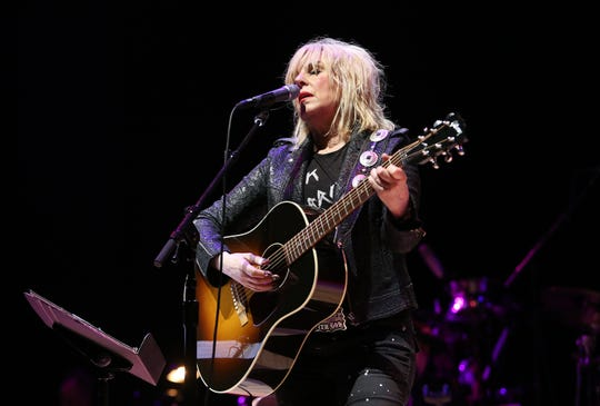 Lucinda Williams performs at Across The Great Divide benefit concert presented by UpperWest Music Group at Ace Theatre Downtown LA on Oct. 19, 2018 in Los Angeles, California.