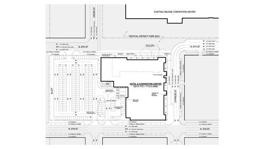 A map of the location of the future downtown hotel project.