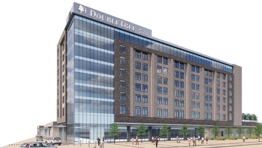 A concept drawing of the DoubleTree by Hilton hotel that will eventually rise in downtown Abilene.