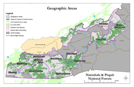Part of the newly released draft of the Nantahala and Pisgah forest plan includes a chapter on Geographic Areas, each with its own set of goals, recognizing that each part of the vast forest is unique.