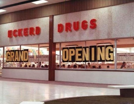 Storefront of Eckerd Drugs in Tallahassee's Northwood Mall on opening day, September 30, 1969.
