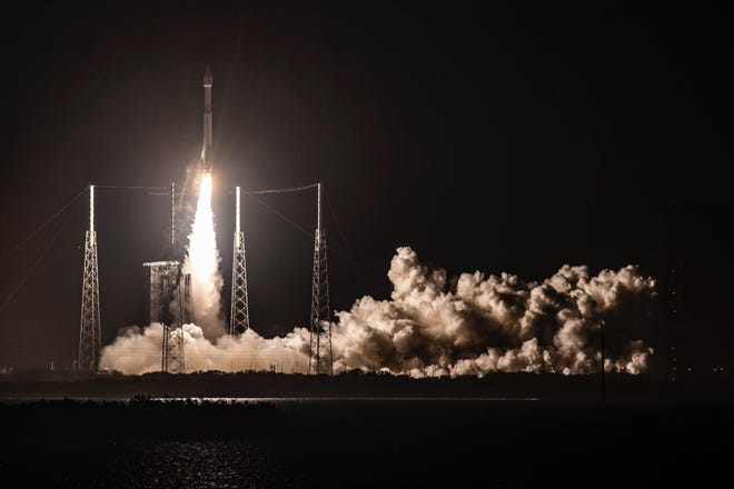 A United Launch Alliance Atlas V rocket lifts off from Cape Canaveral Air Force Station with the Solar Orbiter probe on Sunday, Feb. 9, 2020.