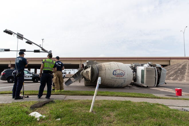 A cement truck crashed onto its side Monday afternoon near Saratoga Boulevard and State Highway 286. The crash tied up traffic on the northbound frontage road, but no cement appeared to have to spilled.
