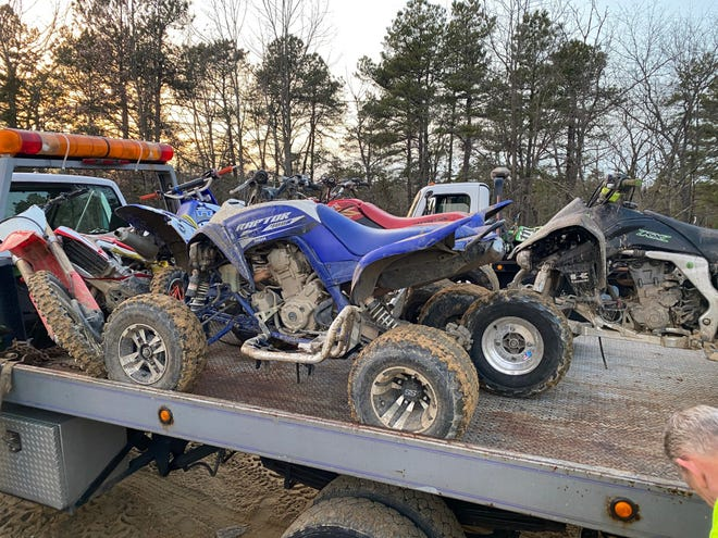 Winslow police broke up a gathering of around 100 ATV riders and motorcyclists at the Blue Hole in the Winslow Wildlife  Management Area of the state Pinelands on Feb.9. 2020, and confiscated 14 vehicles. ATVs and dirt bikes are prohibited in the area.