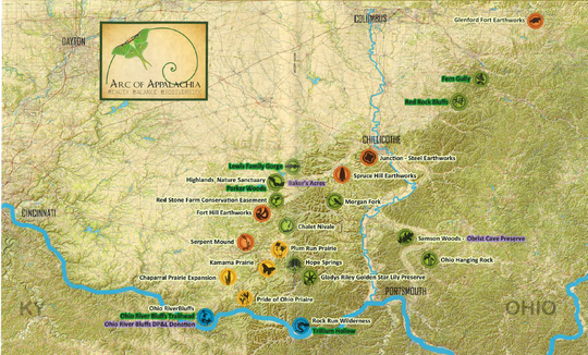 A map illustrated in the 2018-2019 Arc of Appalachia print edition shows the organization's properties.