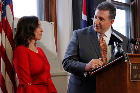 Alex Triantafilou, chairman of the Hamilton County Republican Party, introduces Cincinnati councilwoman Amy Murray during a press conference at the Republican Party of Hamilton County office in the Pendleton neighborhood of Cincinnati on Monday, Feb. 10, 2020. Councilwoman Murray will leave the city for an appointed position as the new director of small business programs in the United State Department of Defense.