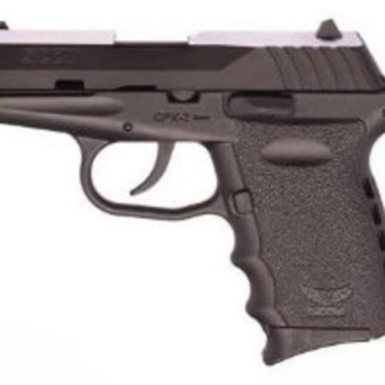 Cincinnati police say a black SCCY 9mm semi-automatic handgun that looks like this was stolen from a car in Walnut Hills Feb. 6.