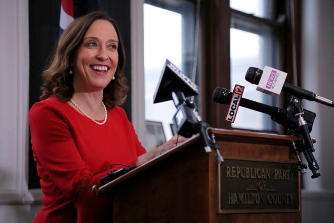 Cincinnati councilwoman Amy Murray announces her resignation during a press conference at the Republican Party of Hamilton County office in the Pendleton neighborhood of Cincinnati on Monday, Feb. 10, 2020. Councilwoman Murray will leave the city for an appointed position as the new director of small business programs in the United State Department of Defense.
