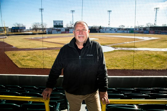 Clinton LumberKings general manager Ted Tornow poses for a photo in the stands behind home plate, Monday, Feb. 10, 2020, at NelsonCorp Field in Clinton, Iowa.