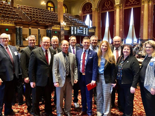 Senator Zach Nunn, R-Bondurant, center, hosts school board leaders and superintendents from Southeast Polk, Colfax Mingo, and Bondurant-Farrar in Senate chambers. They addressed education funding, mental and behavioral health in the classroom, and transportation equity for districts.