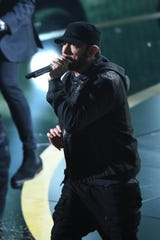"Eminem performs ""Lose Yourself"" during the 92nd Academy Awards at Dolby Theatre Feb. 9, 2020."