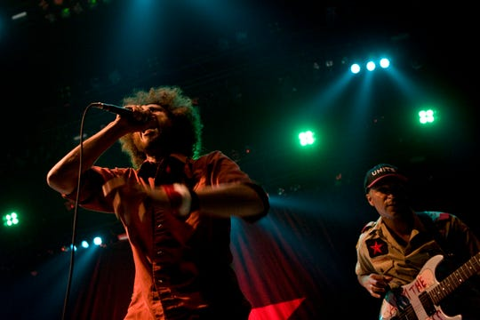 Zack de la Rocha (left) and Tom Morello of Rage Against The Machine perform during the 2008 Republican National Convention (RNC) at the Target Center Sept. 3, 2008, in Minneapolis.