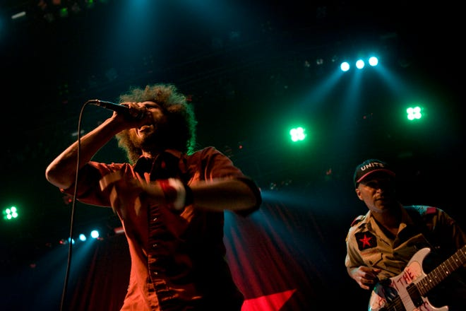 Zack de la Rocha (left) and Tom Morello of politically-charged rap-rock group Rage Against The Machine perform in Minneapolis in 2008. The band is reuniting for a 40-date tour in 2020, and will perform at Alpine Valley Music Theatre in East Troy July 10, their first Wisconsin concert in 13 years.