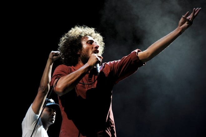 Singer Zack de la Rocha of Rage Against the Machine performs at L.A. Rising at the L.A. Memorial Coliseum on July 30, 2011, in Los Angeles.