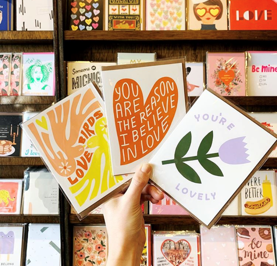 City Bird in Detroit offers a wide range of unique greeting cards, perfect for Valentine's Day.